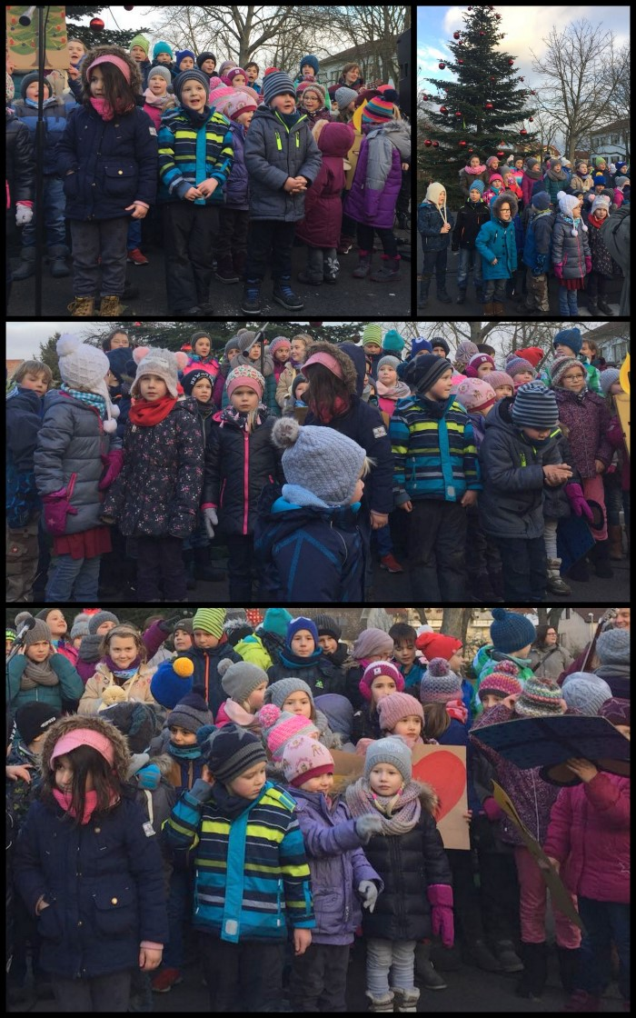 Kinder der Schule und die Kindertreff-Kinder singen gemeinsam Weihnachtslieder
